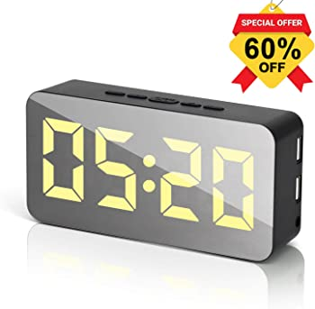 GARDWEN LED Adjustable Brightness Voice Control Alarm Clock