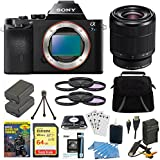 Sony Alpha a7S ILCE7S/B ILCE7S ILCE7SB Camera with SEL 28-70mm Full Frame Lens Bundle with 64GB SDXC Card, Spare Battery, Rapid AC/DC Charger, HDMI Cable, Case, LCD Screen Protectors and More