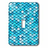 3dRose (lsp_266948_1) Single Toggle Switch (1) Sparkling Teal Luxury Metal Mermaid Scales Glitter Effect Art Print