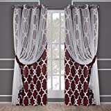 Exclusive Home Alegra Layered Geometric Blackout and Sheer Window Curtain Panel Pair with Grommet Top, 52×84, Wine, 2 Piece Review