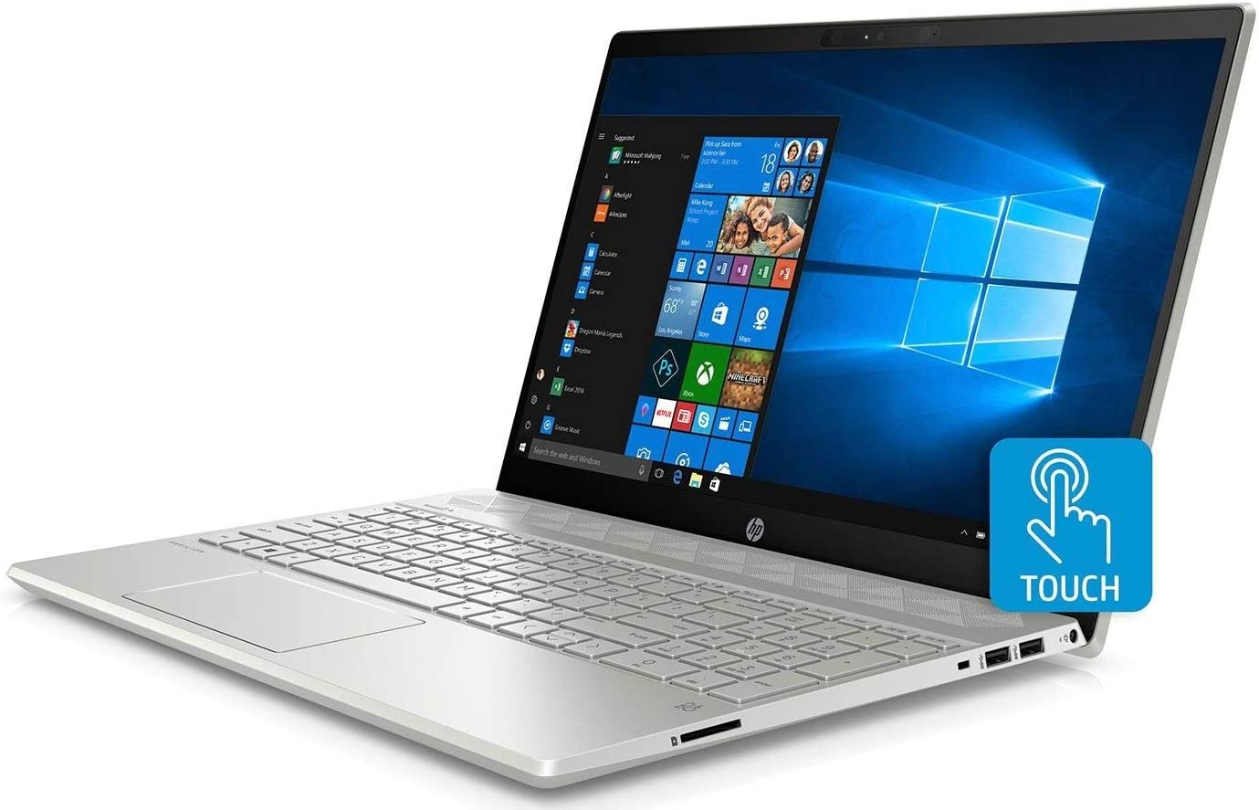 "2019 HP Pavilion Flagship 15.6"" Full HD IPS Touchscreen Laptop, Intel Quad Core i7-8550U, 12GB DDR4 Memory, 256GB SSD Boot + 1TB HDD, USB-C, Bluetooth, WiFi, Backlit Keyboard, Windows 10, Silver"
