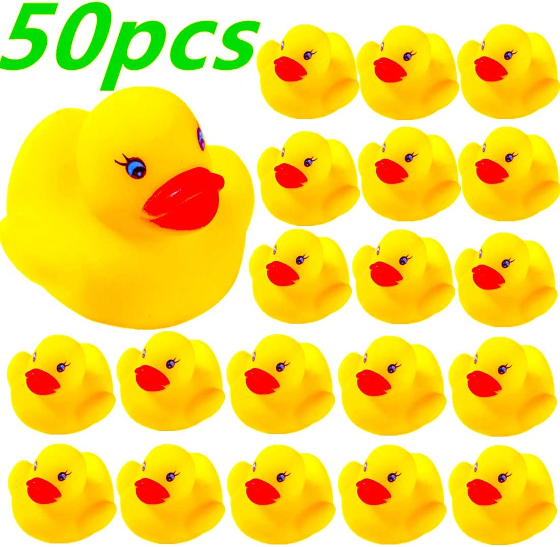 DZTIAN 50-Pieces Float & Squeak Mini Rubber Duck Baby Bath Ducky Sound ShowerToys for Kids Celebrate The Joy of The Children