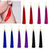 NNDA CO 1 Pair Vintage Long Tassel Dangle Earrings Thread Fringe Drop Earring For Women(HP)