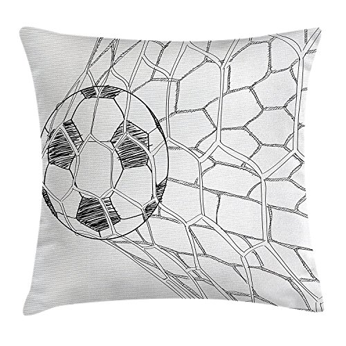 (fengyijiating Sports Decor Throw Pillow Cushion Cover Soccer Ball in Net Goal Position Sports Competition Hand Drawn Style Print Decorative Square Accent Pillow Case 18 X 18)