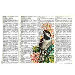 LarryToliver You deserve to have Cloth Simulation 20 X 30 inch pillowcase Vintage Dictionary Page Bird Pink Flower Floral Art best pillow cases(two sides)