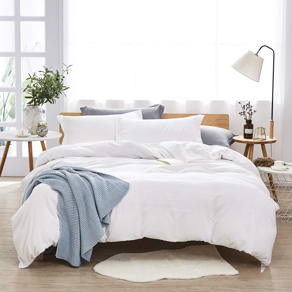 Dreaming Wapiti Duvet Cover Queen,100% Washed Microfiber 3 Piece Bedding Sets, Solid Color-Soft and Breathable with Zipper Closure & Corner Ties(White),
