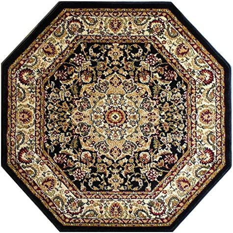 Bellagio Traditional Octagon Area Rug Design 401 Black 7 Feet 3 Inch X 7 Feet 3 Inch Octagon