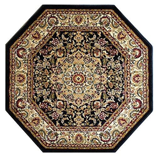 Bellagio Traditional Octagon Area Rug Black 401 (4 Feet X 4 Feet) Octagon (Rug Octagonal Oriental)