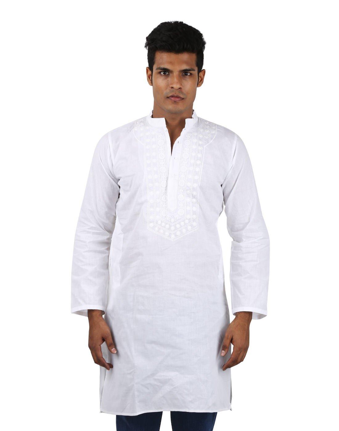 Indian Designer Handmade Cotton Short Mens Kurta Casual Punjabi Traditional Wear Clothing, White