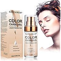 Base de Maquillaje,Foundation Color Changing,Base Líquida,Resistente al Agua,Duradero,24H Base de Maquillaje de Larga Duración