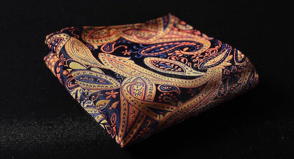 HISDERN Mens Floral Paisley Jacquard Woven Ascot Set