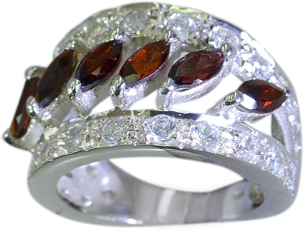 Natural Garnet 925 Sterling Silver Ring For Men Cluster Marquise Birthstone Size 4,5,6,7,8,9,10,11,12