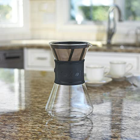 cafe brew pour over coffee maker with permanent bpa free 4 coffee filter coffee