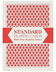Red Deck, Wide Size, Plastic Coated, Standard Playing Cards by Brybelly