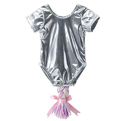 dbb798de3 Birdfly Baby Girl Braided Unicorn Tail Romper Metallic Leotard ...