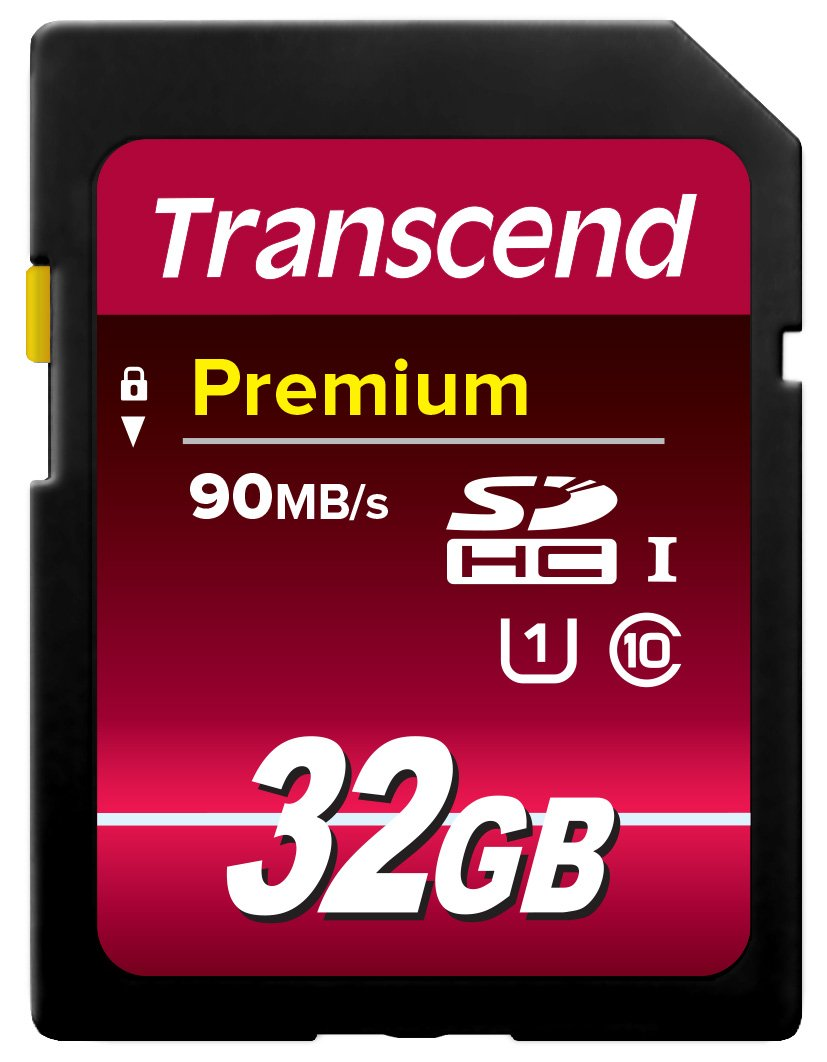 Transcend 32GB SDHC Class 10 UHS-1 Flash Memory Card Up to 45MB/s (TS32GSDU1E)