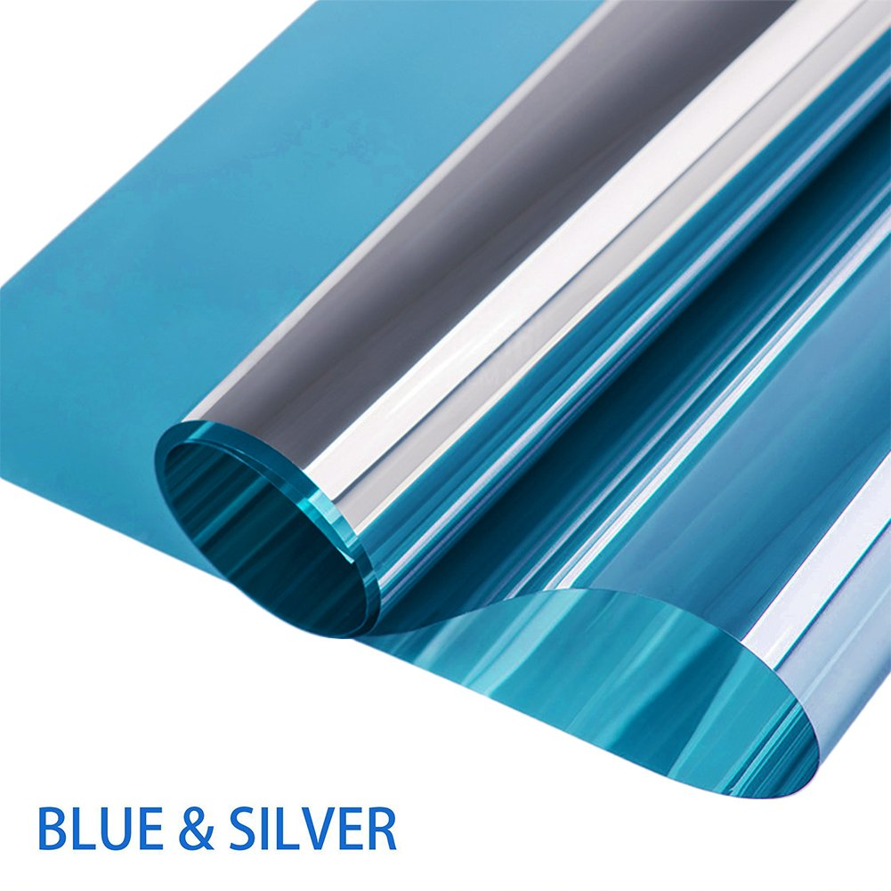 (60cm 200cm, Blue Silver)Window Film Privacy One Way Mirror Window Film Non-Adhesive Static Cling Decorative Heat Control Anti UV Window Tint for Home and Office Window (60cm 200cm) B07BJ24ZVQ  ブルーシルバー 23.6\