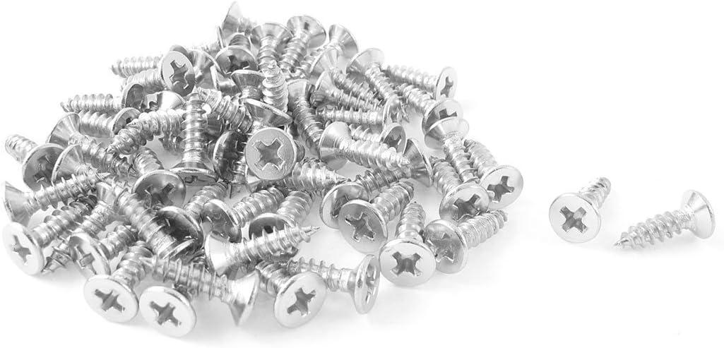 4mmx10mm Autoperforantes Phillips de cabeza plana tornillos de metal 60Pcs