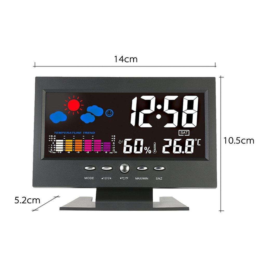 KKmoon ° C / ° F Lcd Digital Medidor de Humedad de Temperatura Reloj Tendencia Del Calendario Alarma Nivel Comodidad Pronóstico Del Tiempo Activado ...