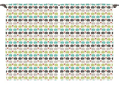 Ambesonne Elephants Collection, Cute Wildlife Wild Jungle Animals and Hearts , Babies Nursery Kids Boys Girls Teens Bedroom Curtain 2 Panels Set, 108 X 84 Inches, Green, Teal, Beige, Red