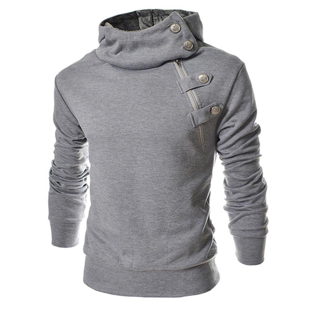 4BH Mens Casual Luxury Buckle Hoodie Slim Cotton Sweatshirts