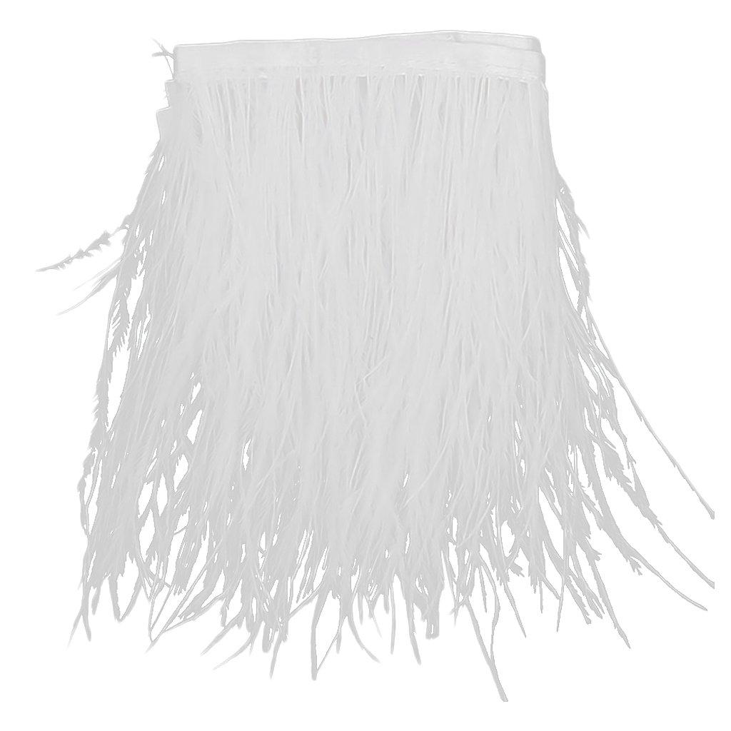 Piume Di Struzzo Tinto Frangia 1 Yard Rifiniture Bianche Generic STK0115006726