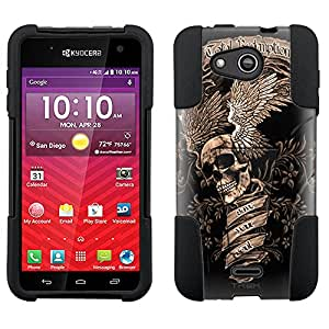 Kyocera Hydro Wave Hybrid Case Skull Wing Sepia on Black 2 Piece Style Silicone Case Cover with Stand for Kyocera Hydro Wave