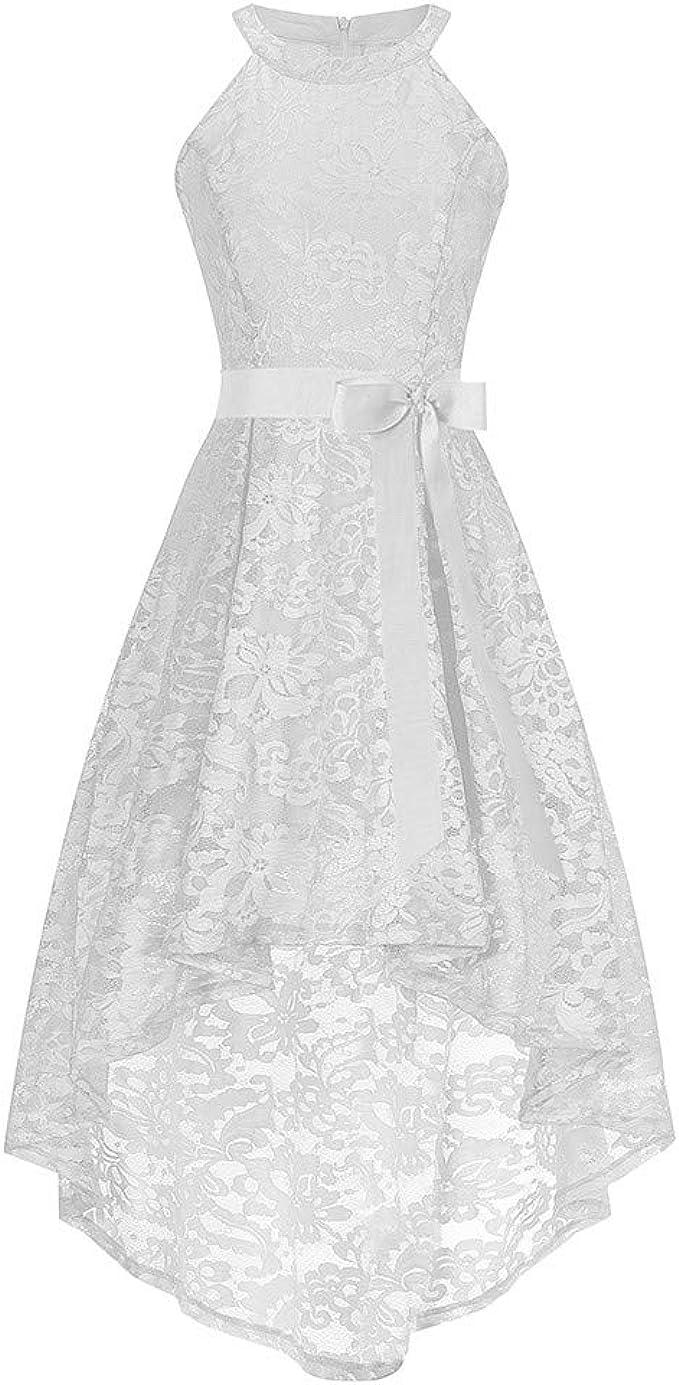 SALUCIA Damen Kleider Elegant Spitzenkleid Rundhals Cocktailkleid
