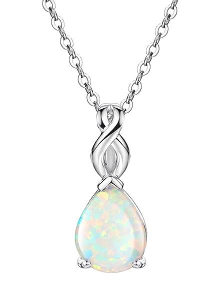Amazon white opal necklace teardrop pendant october birthstone white opal necklace teardrop pendant october birthstone jewelry for women 18 inch aloadofball Images