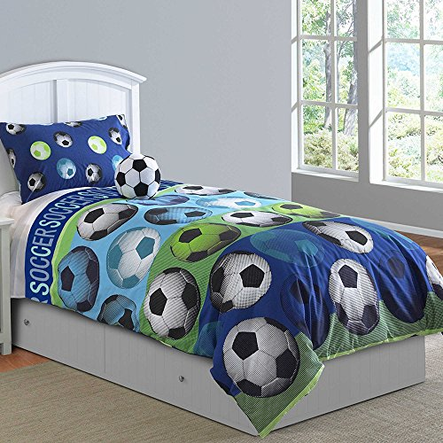 Soccer League 3-Piece Twin Comforter Set with Sham and bonus soccer ball throw pillow by BBB