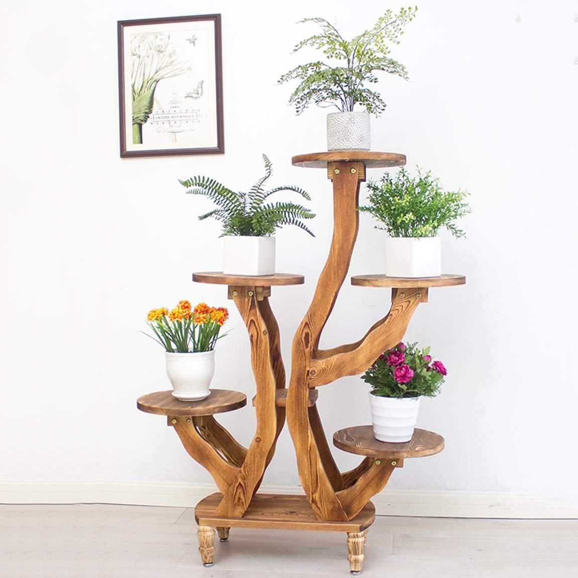 LRW Multi Floor Flower Rack, Solid Wood Floor Balcony, Living Room Indoor Flower Rack, 5 Layer Carbonization