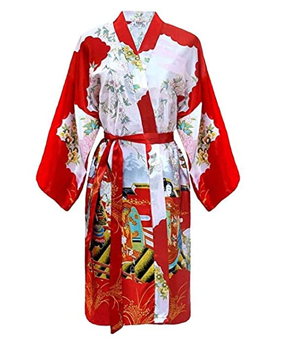 Kimono Mujer japonesa - bata larga elegante de satén: Amazon.es: Ropa y accesorios