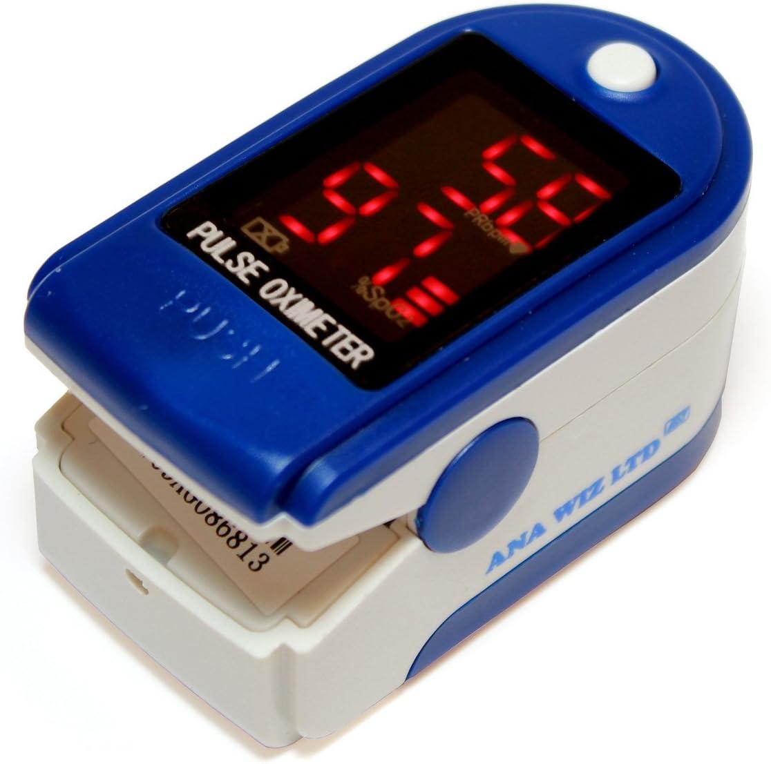Oxímetro de pulso con pantalla LED (Incluye Carrycase, pilas y cinta)