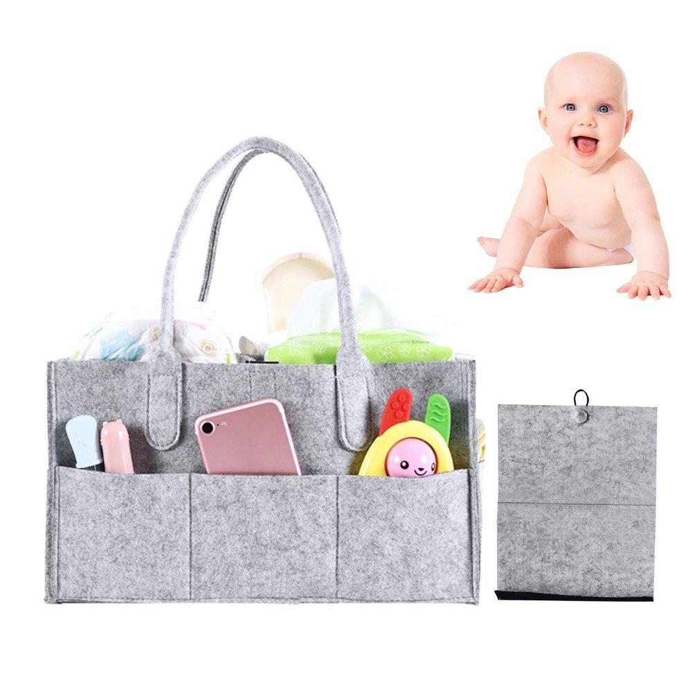 Baby Diaper Caddy Organizer - Portable Large Diaper Caddy Tote - Car Travel Bag - Nursery Diaper Caddy Storage Bin - Gray Felt Basket Infant Girl Boy - Cute Gift for Kids - Newborn Registry Must Have JOHLYE