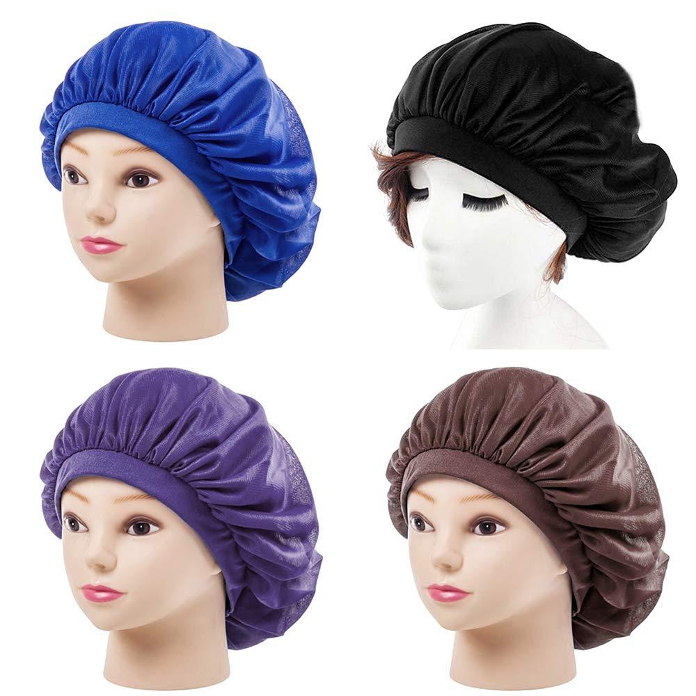 Womens Sleeping Cap Wide Band Satin Warp Knitting Cloth Bonnet Cap Soft Night Sleep Hat