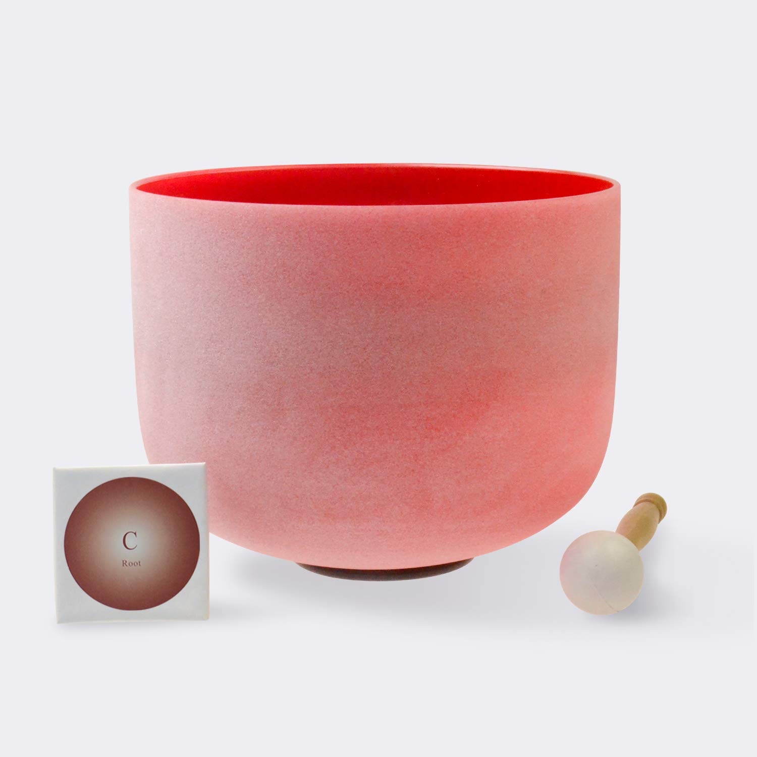TOPFUND Singing Bowls C Note Crystal Singing Bowl Root Chakra Red Color 10 inch (O ring and Rubber Mallet Included)