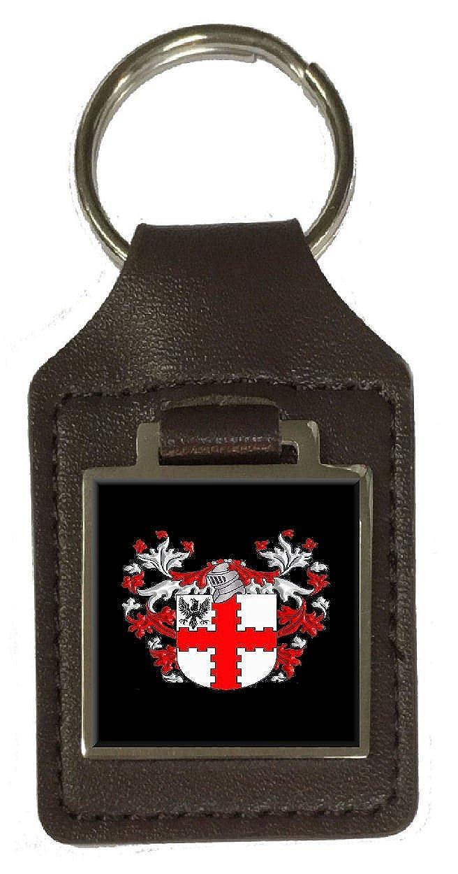 Webb Heraldry Surname Coat Of Arms Brown Leather Keyring Engraved