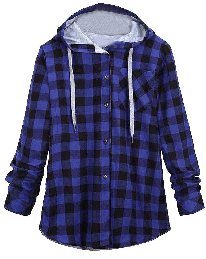 EKU Women Contrast Plaid Oversized Long Hoodies Sweatshirts L 4