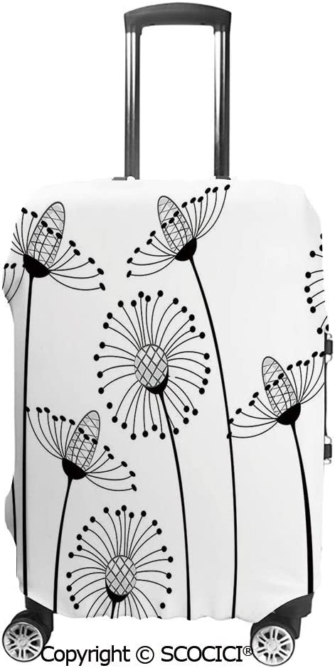 SCOCICI Meadow Flowers Stylized Abstract Dandelions Countryside Art Luggage Case Protective Baggage Suitcase Cover for 19-32 Luggage