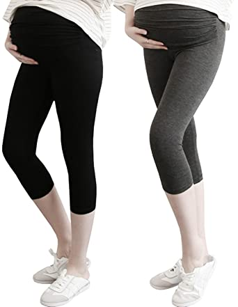 a5b5f6e02ef466 Foucome Spring Summer Women's Maternity Lounge Pants Fold Over Waistband Comfortable  Pregnancy Leggings at Amazon Women's Clothing store: