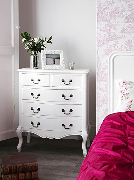 Juliette Shabby Chic Antique White chest of drawers. Stunning French ...