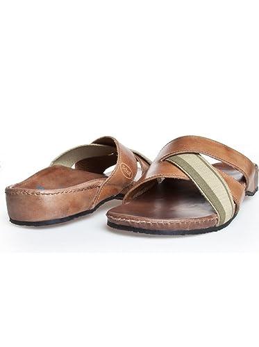 Dr. Scholl LEROS F23669 Herren Pantoletten Slippers Sandale EU 40 UK 6.5 Leder Braun Brown 1011