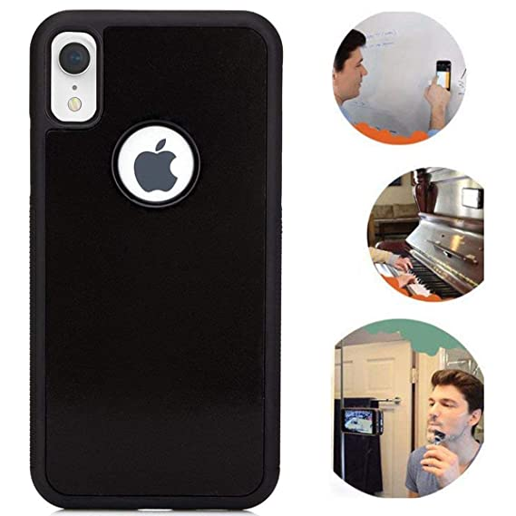 """reputable site 29ca8 5f37d Anti Gravity iPhone XR Case, Suction Sticky Black Anti Gravity Case for  iPhone XR 6.1"""" Magical Nano Stick on The Wall Mirror and Any Flat Surface  ..."""