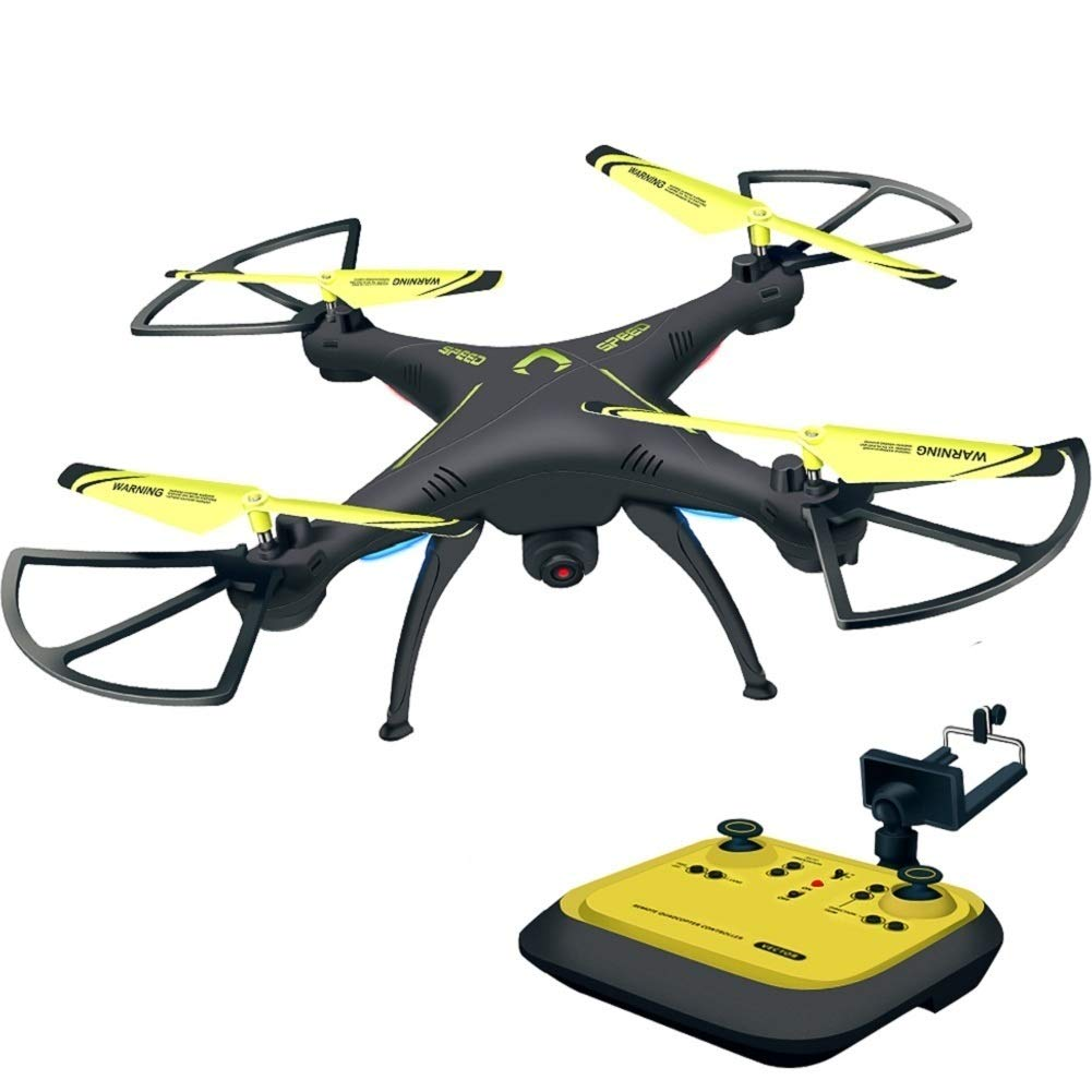 Honor-Y RC Drone with Camera Live Video Yellow 720 HD FPV Drones RC Quadcopter Drones for Beginners 2.4GHz 6-Axis Gyro RC Helicopter Drones for Kids//Adults Traning