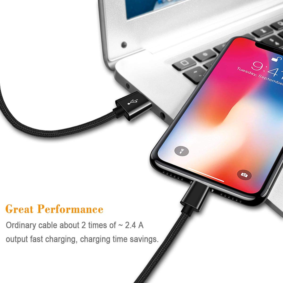 3PACK 6Feet 5FT 5FT Extra Long Nylon Braided USB Charging Cable High Speed Connector Data Sync Transfer Cord Compatible with Phone Xs MAX XR X 8 7 7plus 6S 6 Plus 5S SE pad Phone Charger Cable