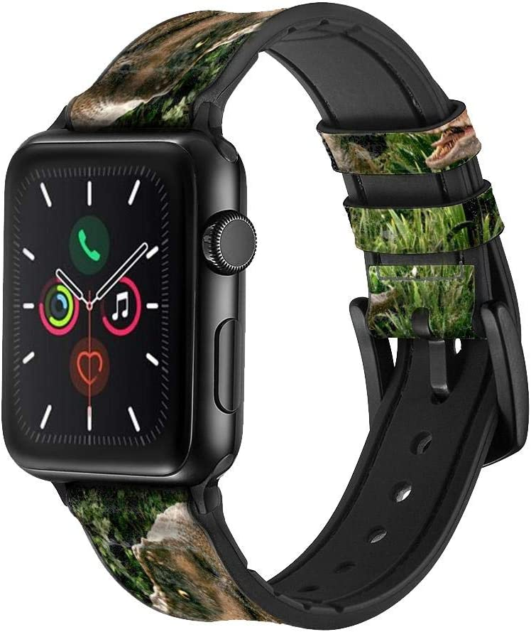CA0167 Trex Raptor Dinosaur Leather & Silicone Smart Watch Band Strap for Apple Watch iWatch Size 38mm/40mm