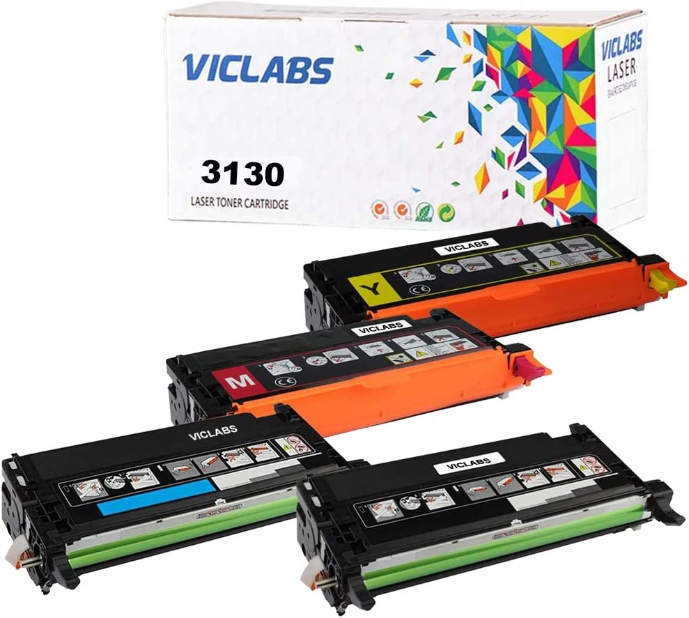 VicLabs Compatible Toner Cartridge Replacement for Dell 3130 3130CN 3130CND 330-1198 330-1199 330-1200 330-1204 Toner Cartridge (Black, Cyan, Magenta, Yellow, 4-Pack)