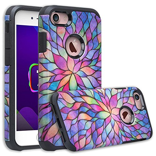 [GW USA] Compatible for iPhone 8 Case, iPhone 7 Case [Shock Absorption] Hybrid Dual Layer Armor Defender Protective Case Cover for iPhone 8 / iPhone 7, Rainbow