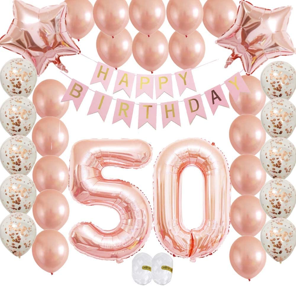 50th Birthday Decorations Party Supplies 50th Birthday balloons Rose gold confet