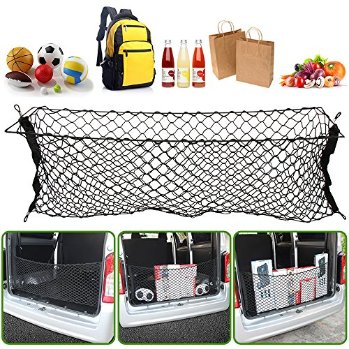 (JessicaAlba Envelope Style Trunk Cargo Net for rear cargo storage in cars, vans, trucks, and SUVs)